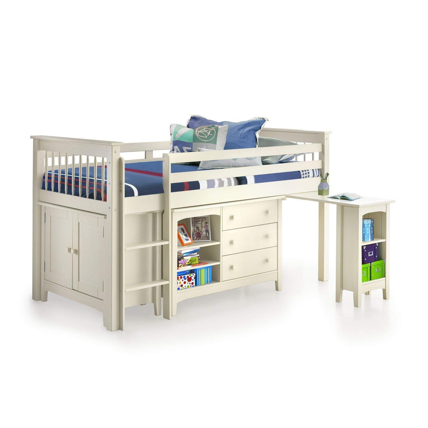 Loft bed with desk white  White Midsleeper Bed  With Desk and Storage  Ladder Can Be Fitted