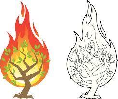 Resultado De Imagen Para Dibujo De La Zarza Ardiente Zarza Ardiente Zarza Ardiendo Dibujos
