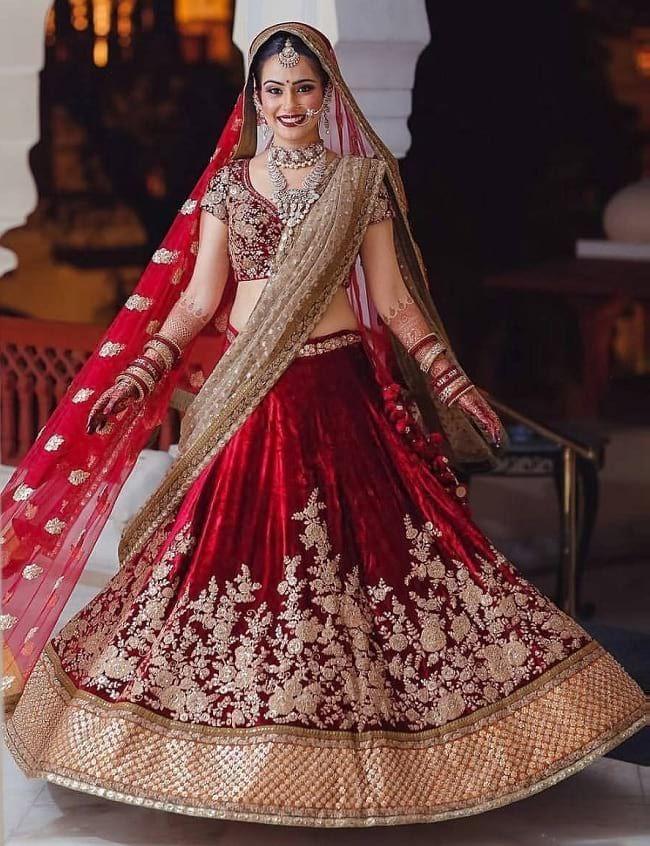 19297ee345 Red & Brown Net & Velvet glittering and shimmering Work Bridal Lehegas For  Perfect Bridal