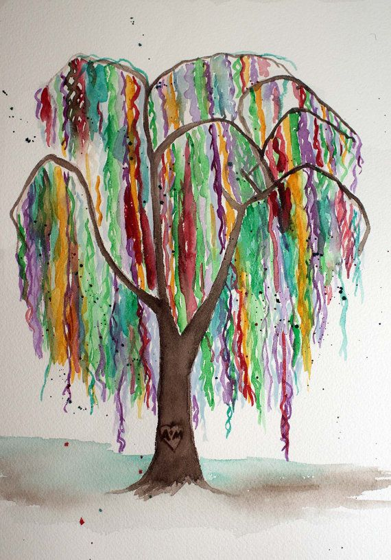 Watercolor Painting Of Weeping Willow Tree Abstract Artwork