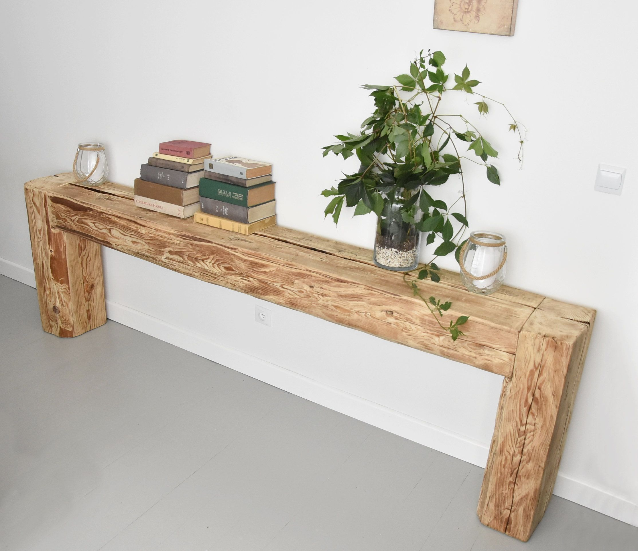 Reclaimed Beam Console Table Old Beams Rustic Country Style Designer Unique In 2020 Reclaimed Wood Console Table Reclaimed Beams Side Table Wood