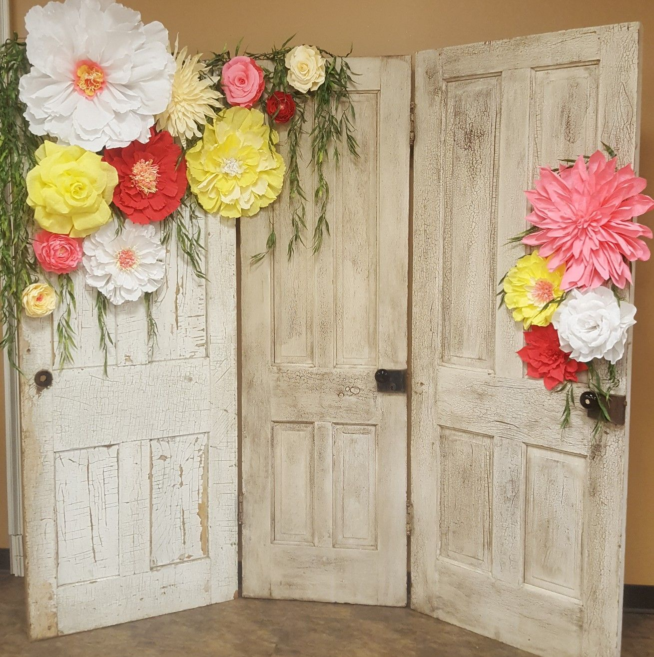 Modern Wedding Backdrop Ideas: Crepe Paper Flowers. Old Doors Backdrop Wedding