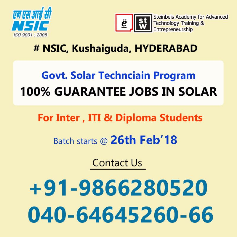 Solar Panel Installation Technician Training Hyderabad Solar
