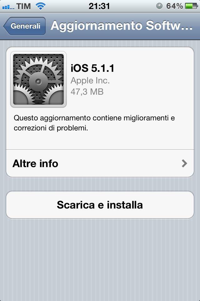 Aggiornamento a iOS 5.1.1 improvviso per iPhone e iPad. In queste ore, Apple ha rilasciato l'aggiornamento firmware tramite iTunes o anche tramite OTA.