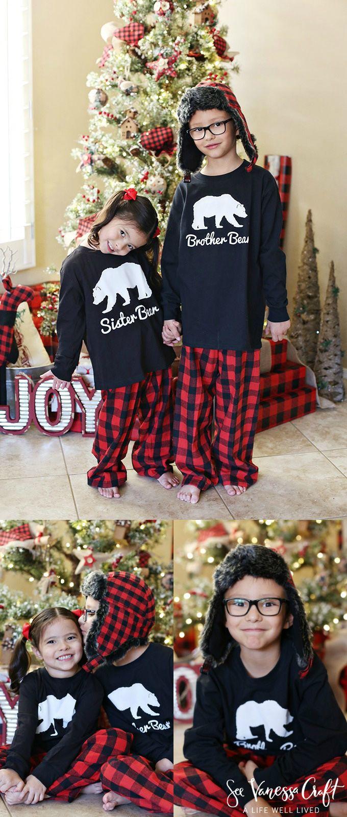 Family Christmas Pajamas brother bear and sister bear