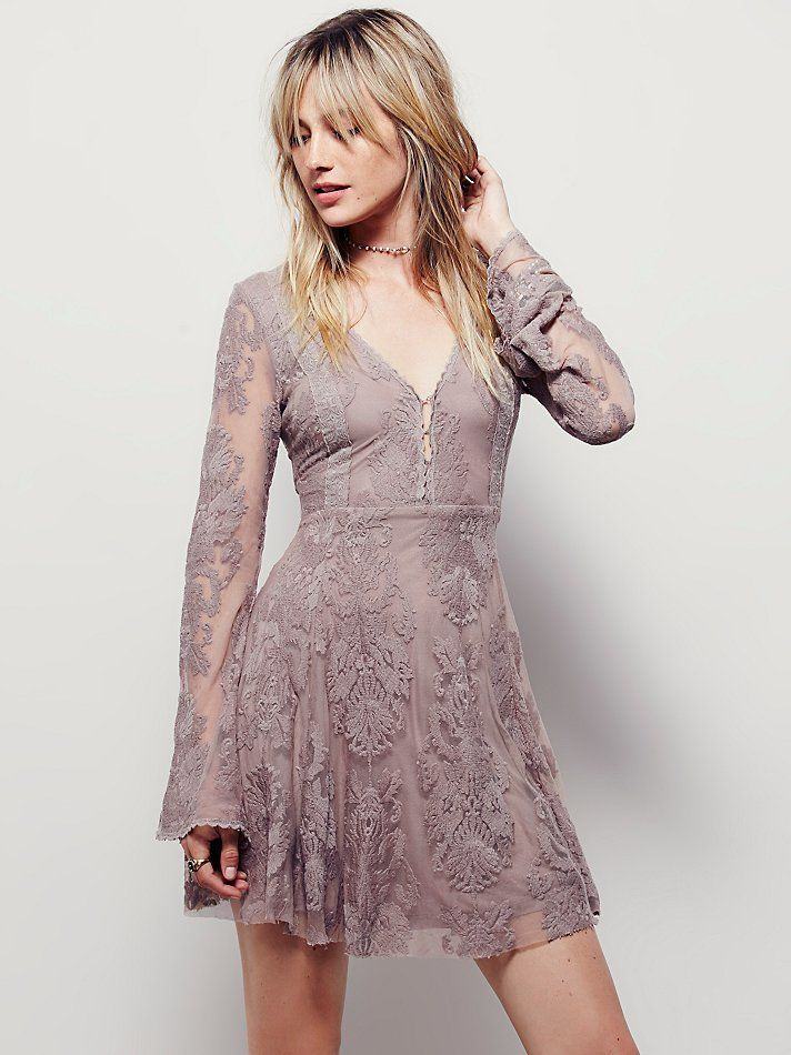 c32df5935f1c Free people Reign Over Me Lace Dress in Gray (Fawn) | Lyst | Clothes ...