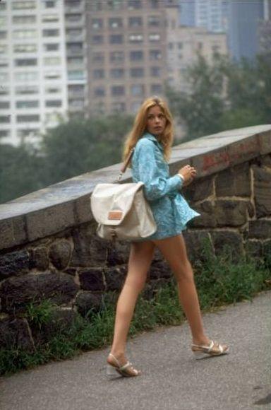 Swedish actress Ewa Aulin  New York street fashion c.1969