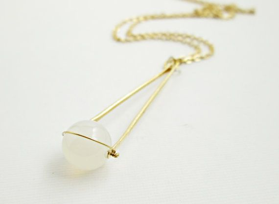 Saturn Pendant. Pale Pink Chalcedony and Hammered Brass. Long Gold Chain. Modern. Minimal. Floating Stone. Boho.