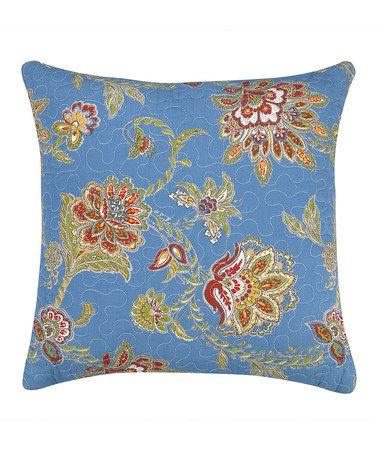 Peking Handicraft Jacobean Blue Quilted Throw Pillow Jacobean, Ps and Blue