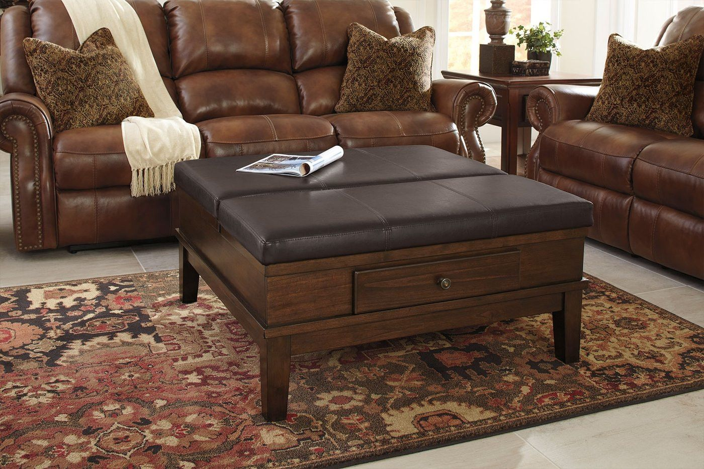 19 Awesome Gately Coffee Table Image Ashleyfurnituregatelycoffeetable Gatelycoffeetable Gat Ottoman Coffee Table Ottoman Table Leather Ottoman Coffee Table [ 933 x 1400 Pixel ]
