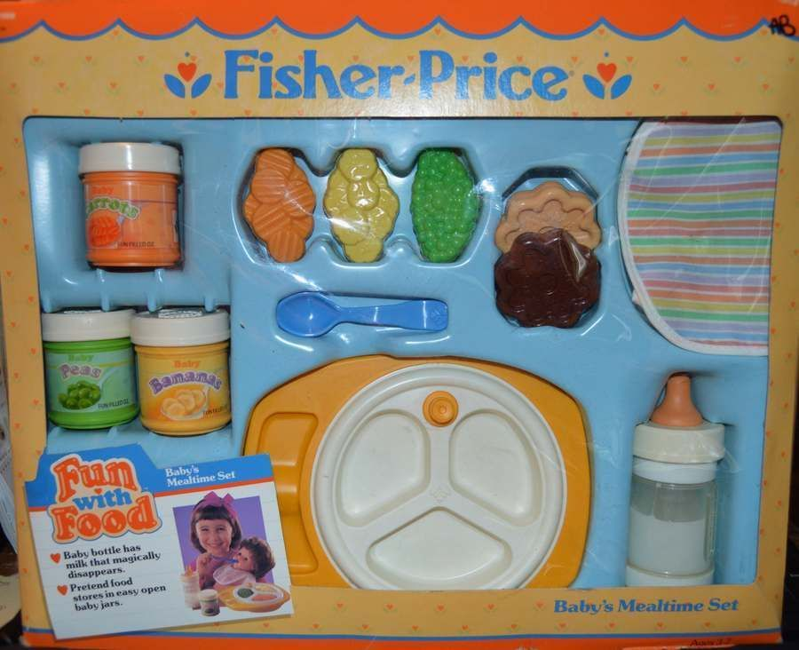 Vintage Fisher Price Fun With Pretend Food Baby Mealtime Set Bottle 2150 Ebay Toys Childhood