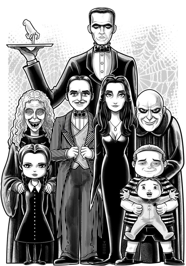 The Addams Family Addams Family Cartoon Family Drawing Family Cartoon