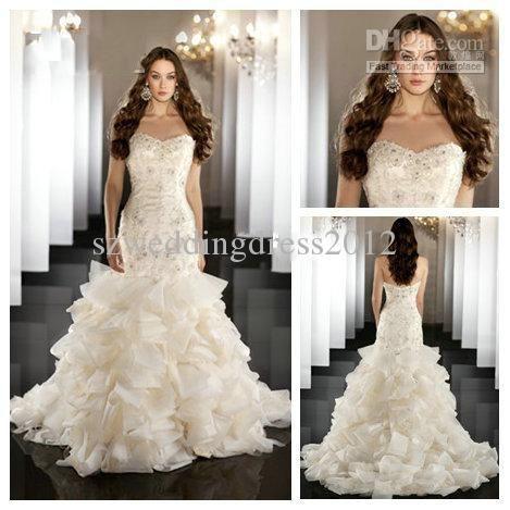Wholesale 2013 Bridal Gowns Fantastically Organza Sweetheart Applique Designer Wedding Dress Mermaid Style, Free shipping, $173.6-191.02/Piece | DHgate #Vestido de novia