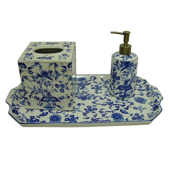Blue/ White Floral Porcelain Bath Accessory 3 Piece Set   Overstock™  Shopping