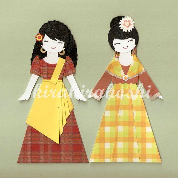 "Trditional costume Art print 2.5/""x3.5/"" Elegant Spanish Filipino"