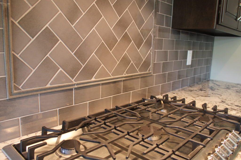 Backsplash Tile Herringbone Pattern With Pencil Tile Custom