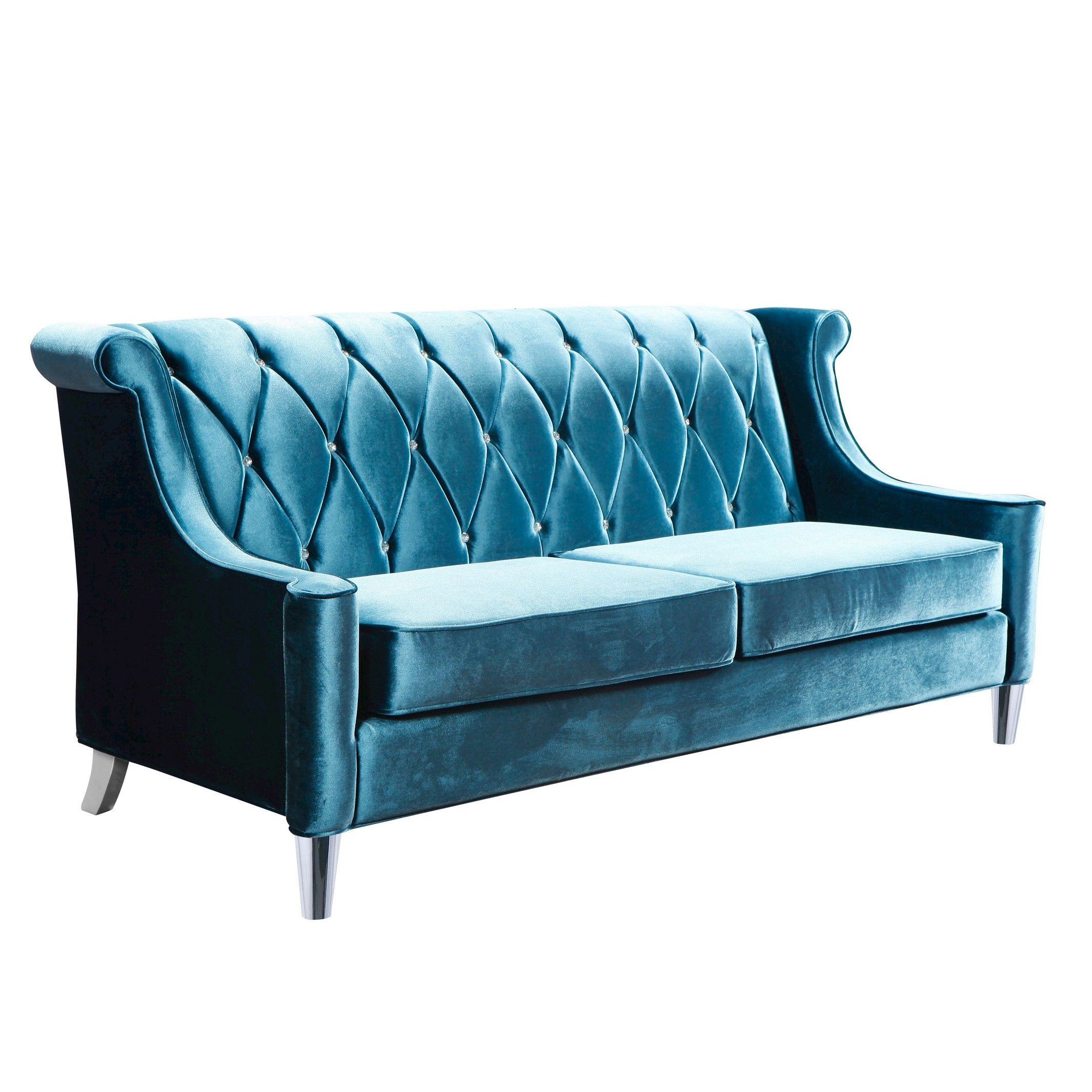 Armen Living Barrister Velvet Sofa - Blue With C... : Target