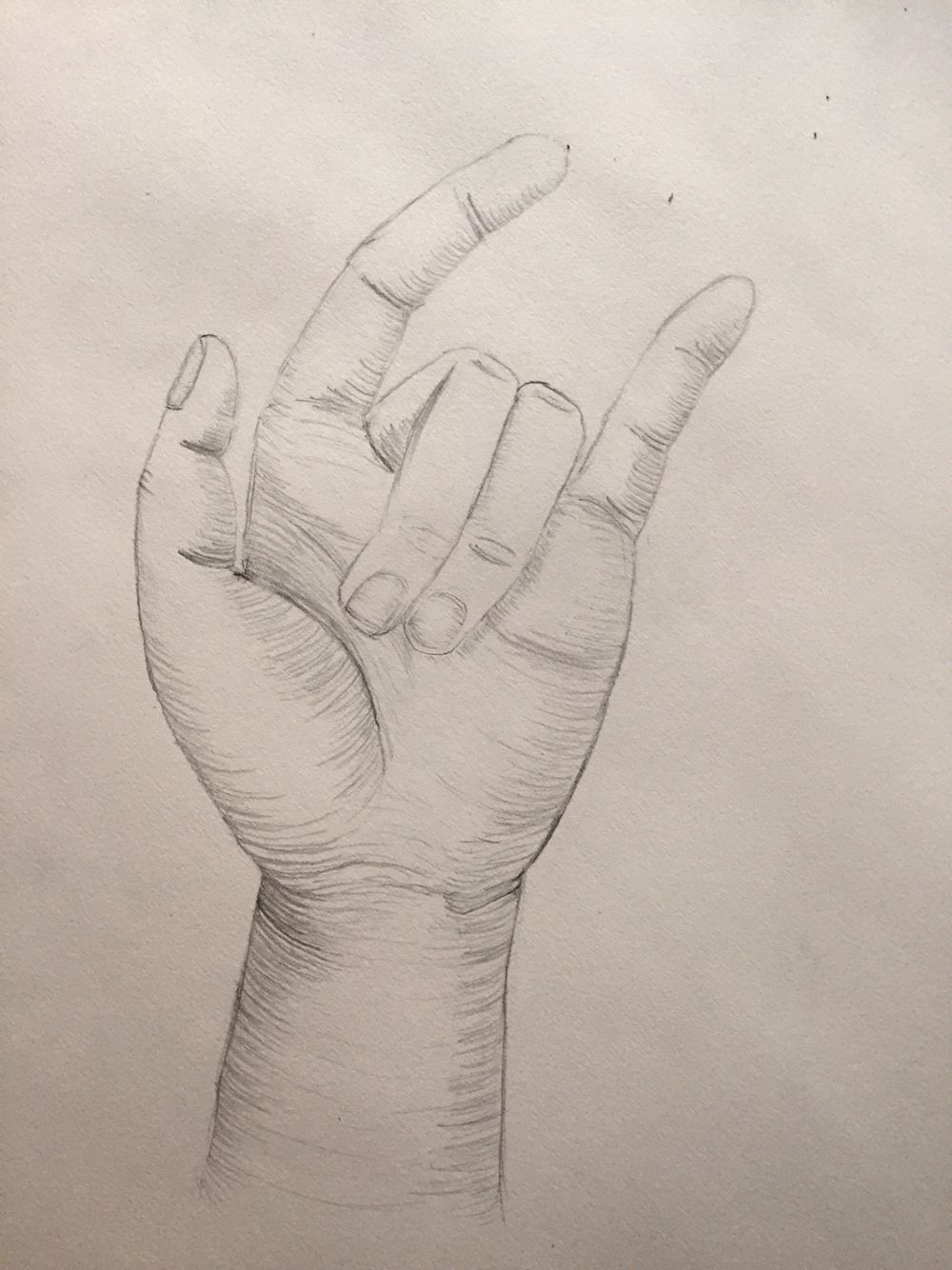 My hand using cross contour lines