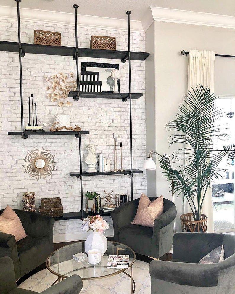 Loft White Texture Brick Peel And Stick Modern Industrial Etsy Brick Living Room Brick Wall Bedroom Brick Wall Living Room
