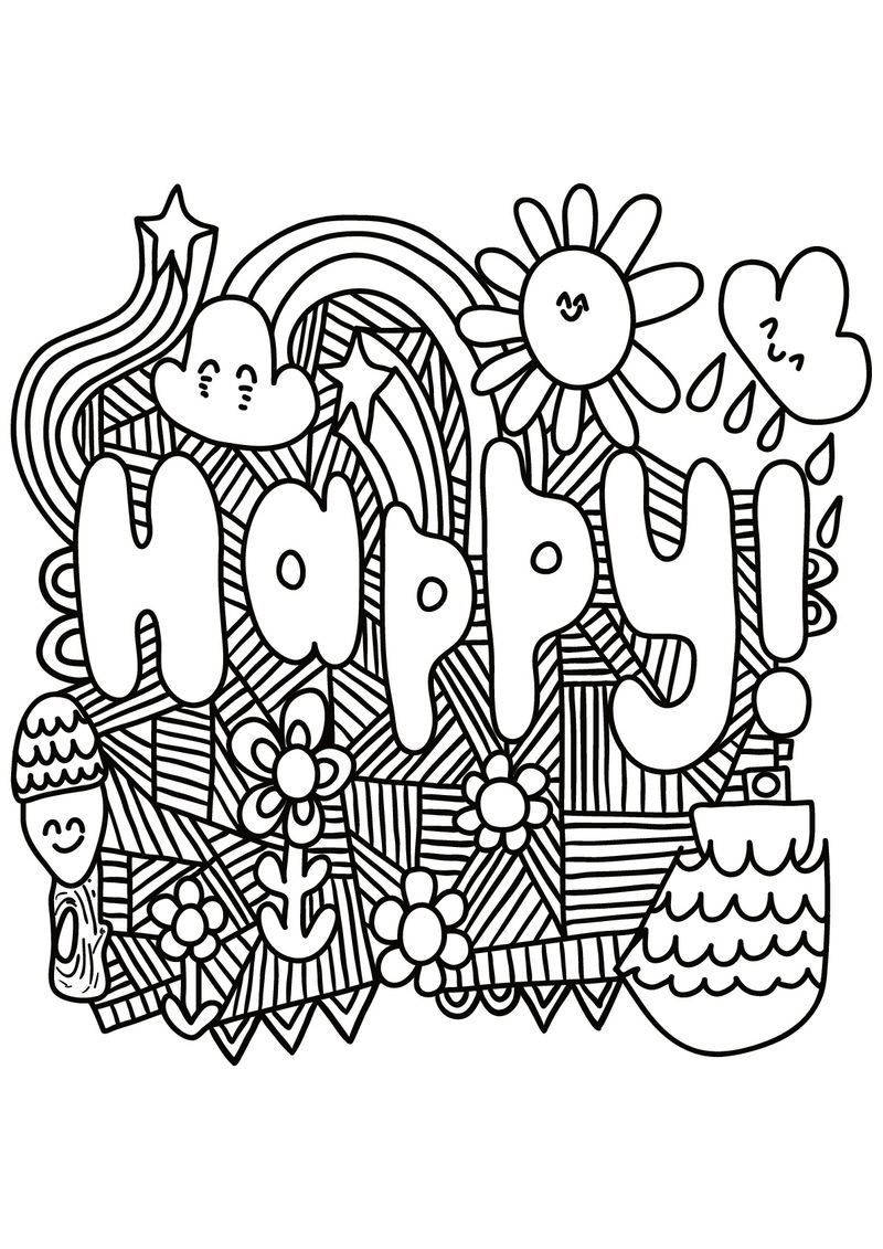Happy Quote Coloring Pages For Teens Quote Coloring Pages Unicorn Coloring Pages Coloring Pages