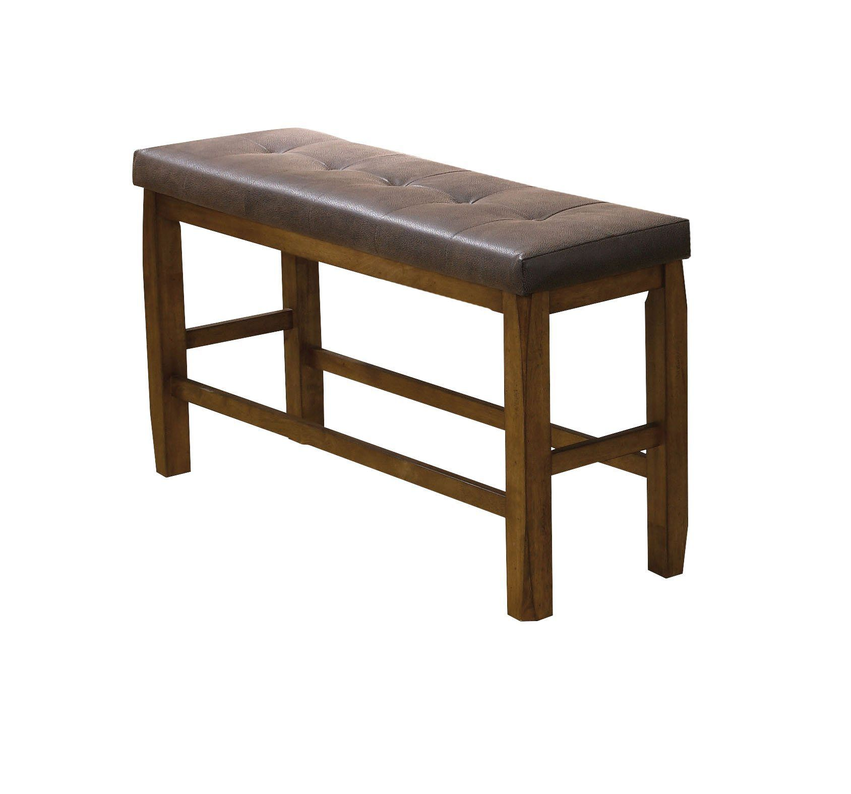 ACME Morrison Counter Height Bench w Storage Brown PU & Oak