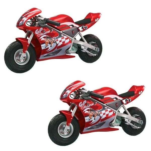Razor Pocket Rocket Kids Mini Bike Ride On Electric Motorcycle Red 2 Pack Wish Mini Bike Electric Motorcycle Bike Ride