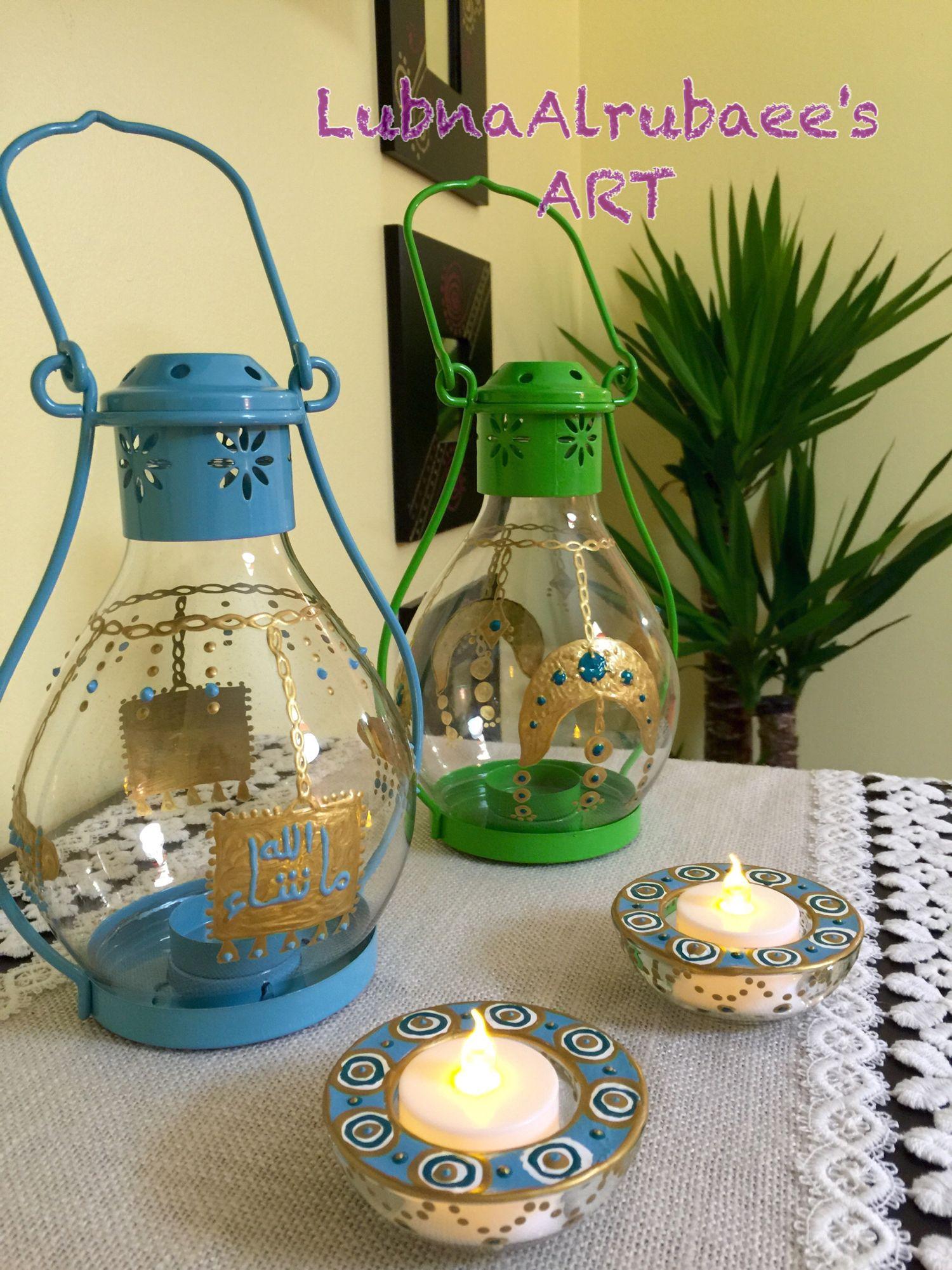 فوانيس فانوس الاكسسوارات والذهب العراقي Glass Painting Designs Vase Crafts Art Paint Party