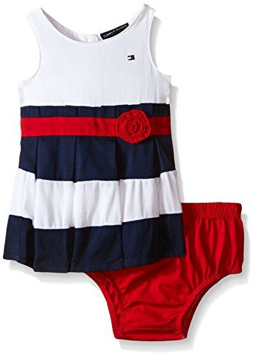 2e74d914a Baby Girls Dresses | Tommy Hilfiger Baby Girls' Woven Bedford Cord Dress  with Panty, Navy/Red, 0-3 Months