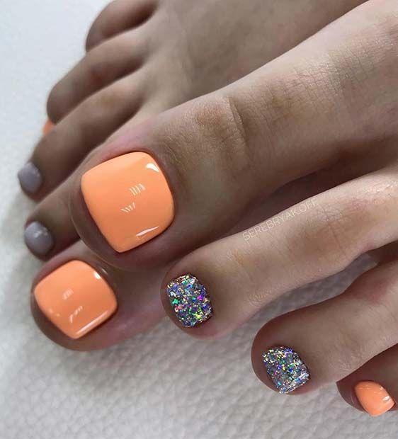 Neon Orange And Glitter Toe Nail Design For Summer Pretty Toe Nails Glitter Toe Nails Summer Toe Nails