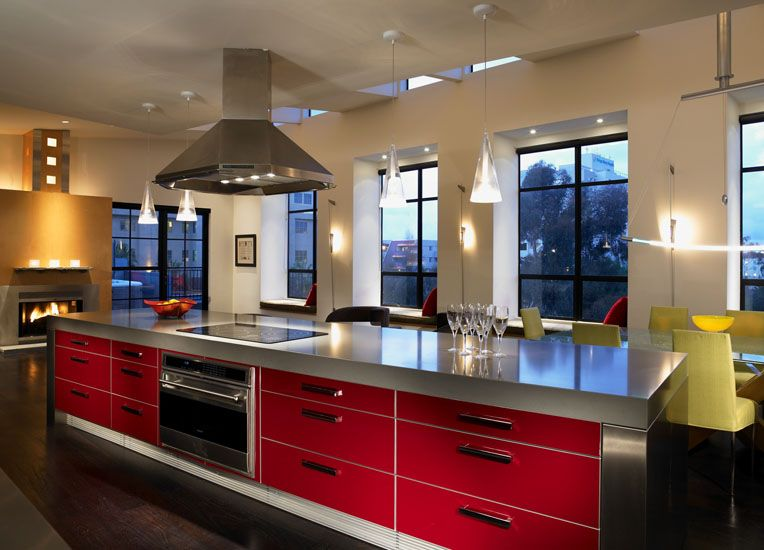 Best Subtle Lighting And Pops Of Red And Gold Give This Modern 640 x 480