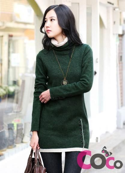 Dark Green Asian Fashion Sweater Dress With Decorative Buttons & Edging