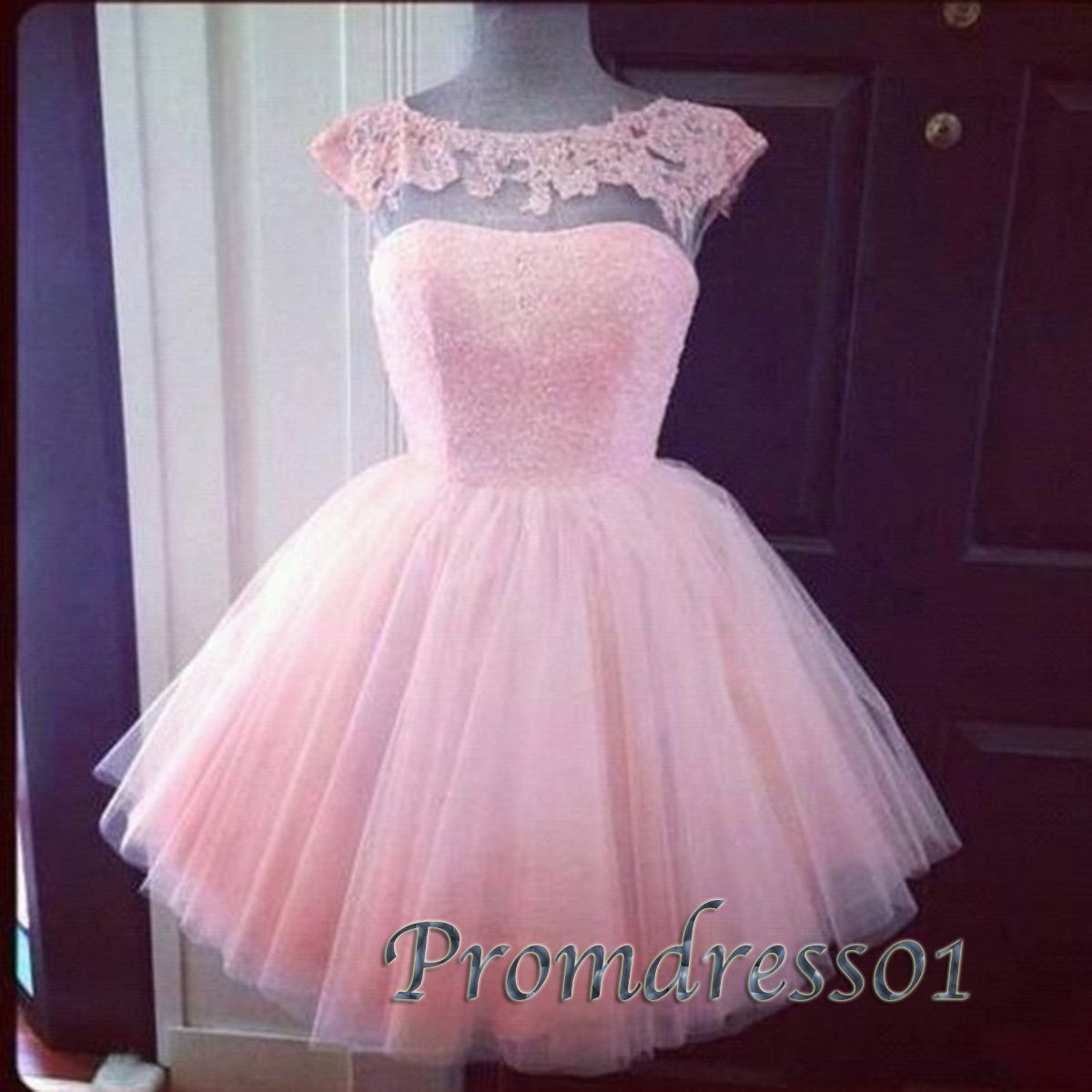 Pink lace tulle backless short prom dress ball dress dresses