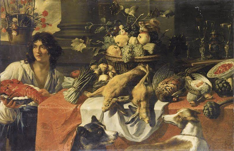 PIETER VAN BOUCLE (ANVERSA C. 1610-1673 PARIGI) Natura morta di frutta, ortaggi e selvaggina su un tavolo, con figura di ragazzo recante una aragosta su un piatto