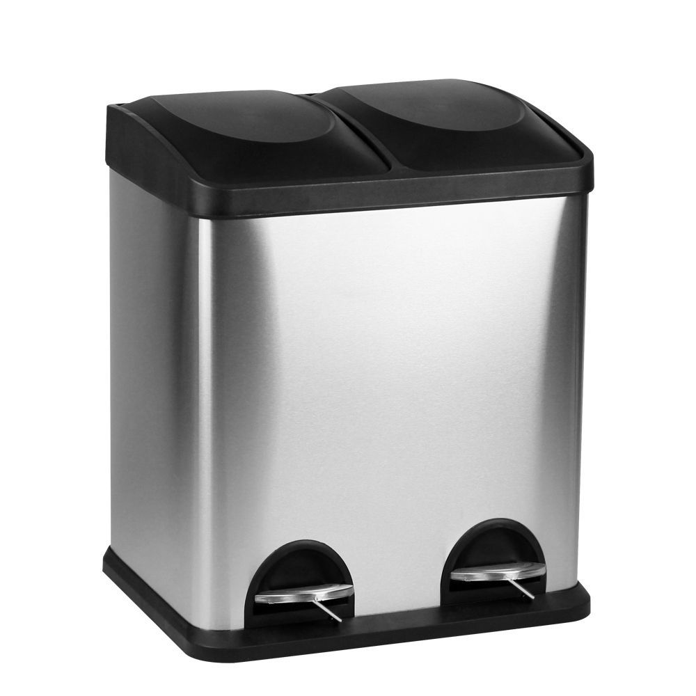 Go green with this dual sided recycling container. It features a pedal-activated lid for each side and stainless steel construction.