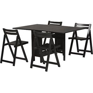 Linon Home Decor Products, Inc. Space Saver 5 Piece Dining Set, Black