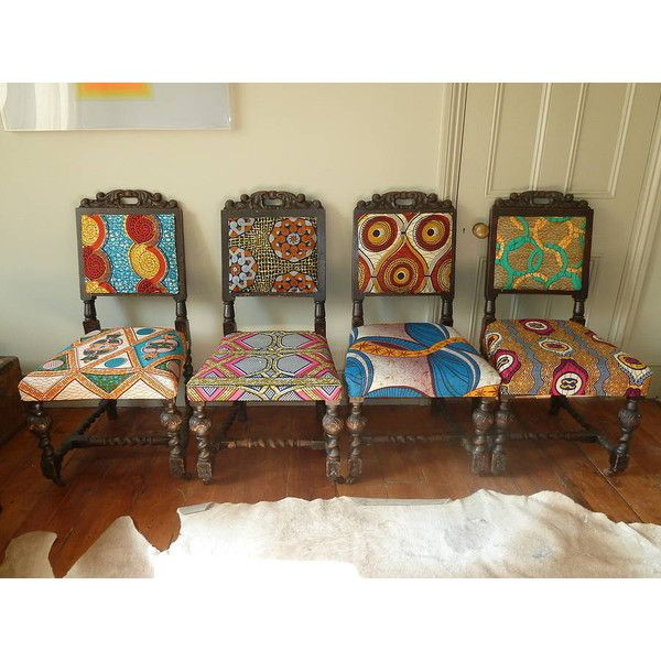 Blanche Dlys Designs Set Of Four Tribal Print Covered Chairs 1 500 Liked On Polyvore Featuring Painting Fabric Chairs African Home Decor African Furniture