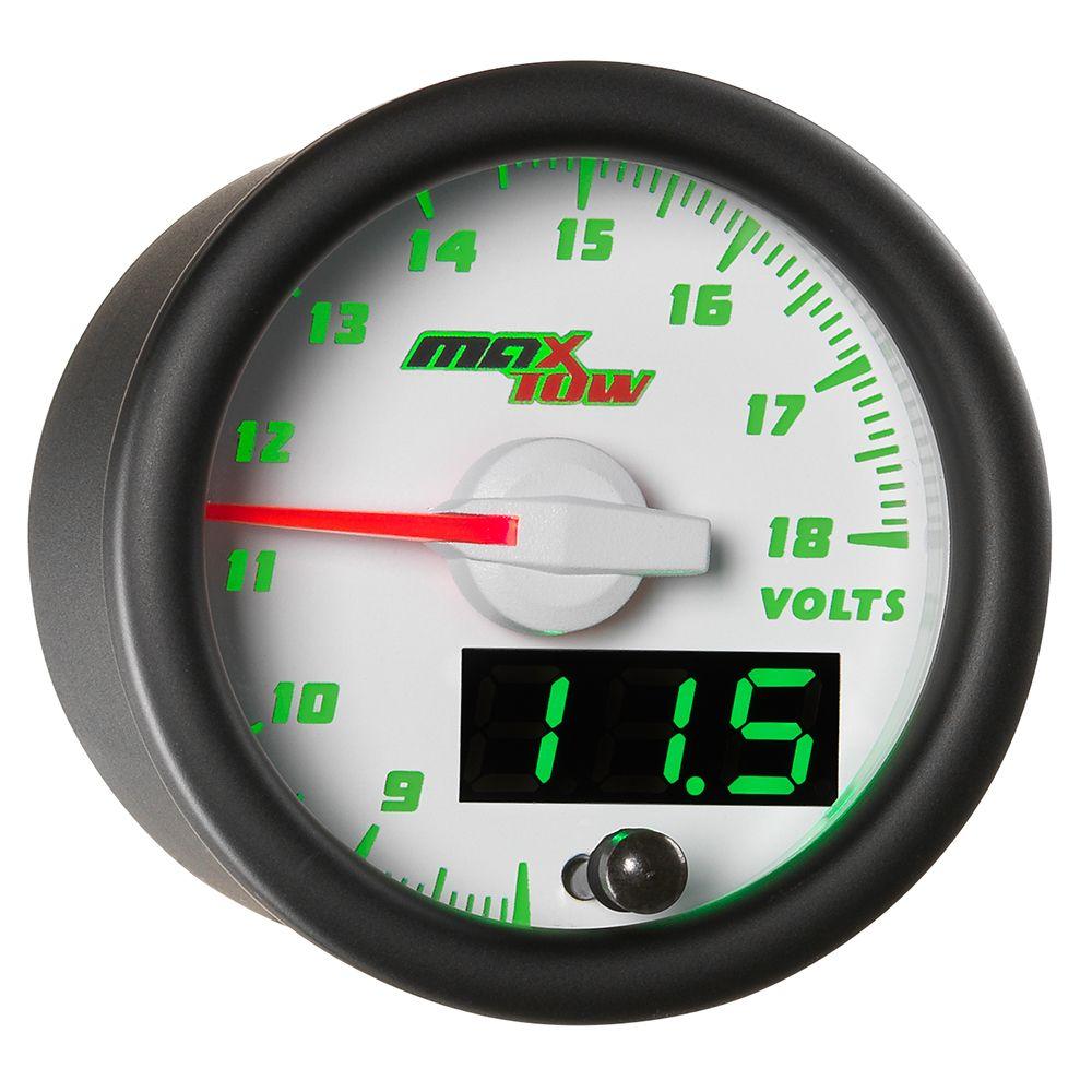 White Green Maxtow Volt Gauge Fuel Pressure Gauge Diesel Trucks Gauges