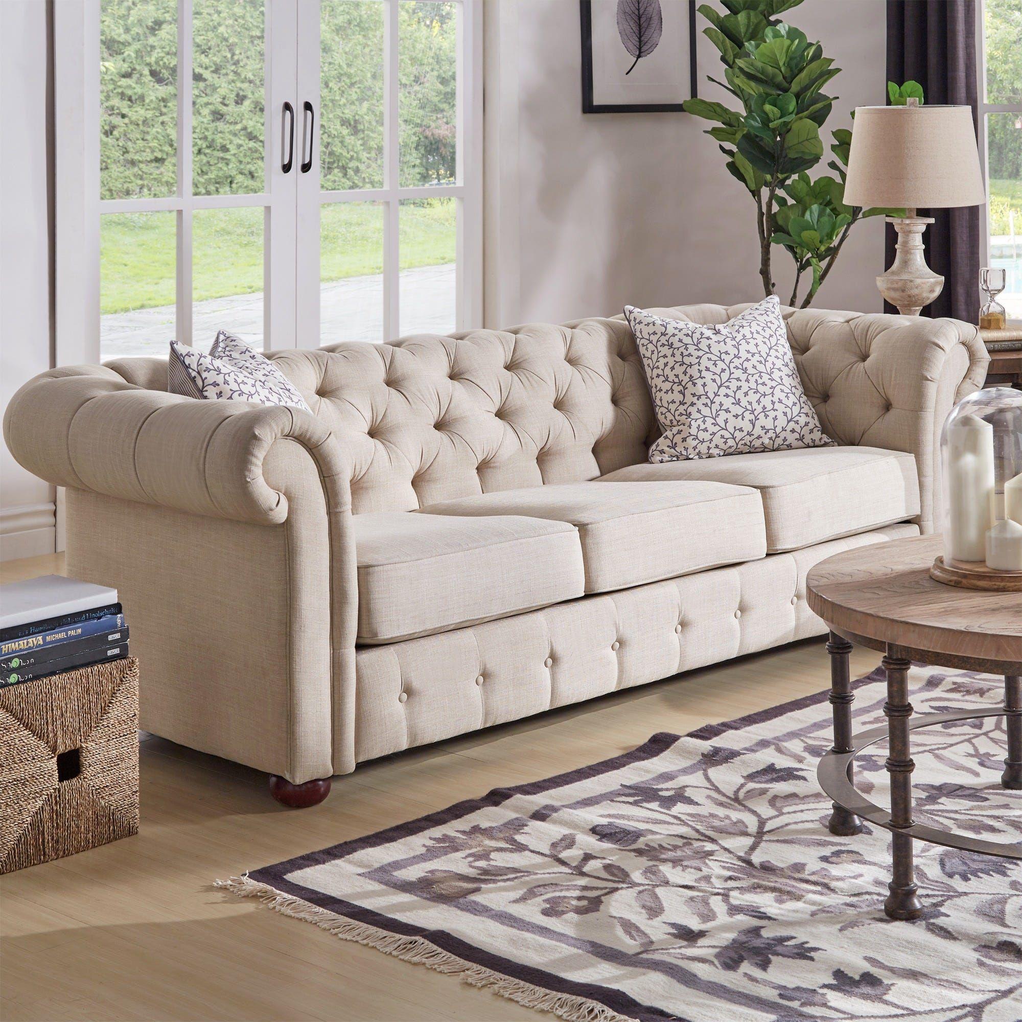Best Knightsbridge Beige Fabric Button Tufted Chesterfield Sofa 400 x 300