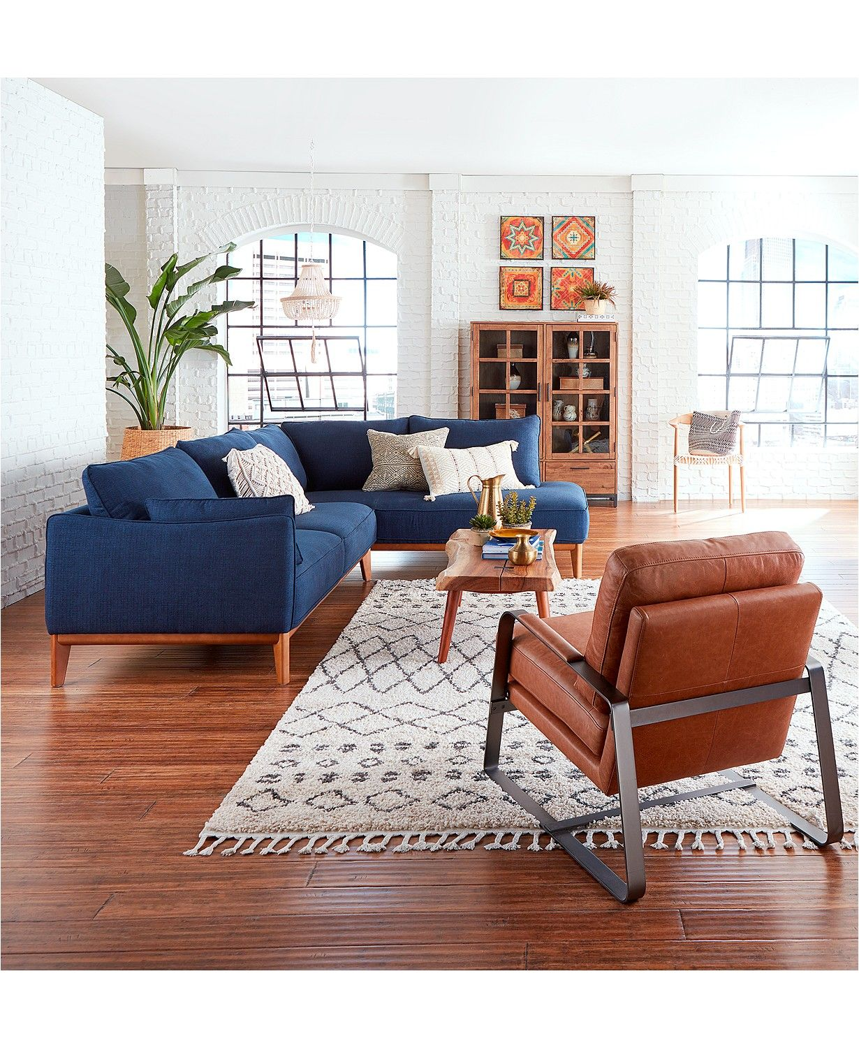 Jollene 113 2 Pc Sectional Created For Macy S Blue Couch