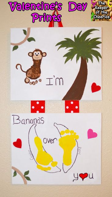 Valentines Day Foot and Hand Prints Craft- Im Bananas Over You
