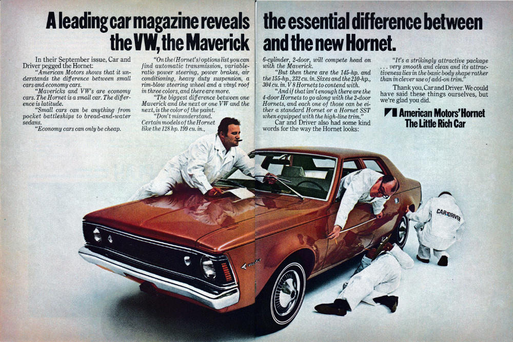 1969 Amc Hornet Vw Maverick Comparison Original 2 Page Magazine Ad Amc American Motors American Motors Corporation