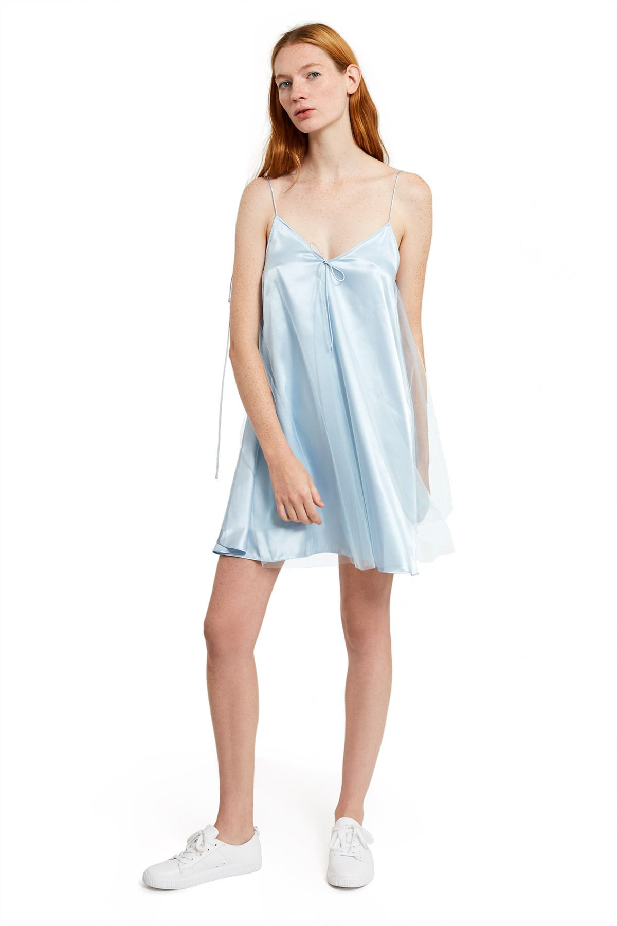 Daisy Floating Slip Dress This Flared Slip Dress Features An Opaque Baby Blue Silk Underlayer And An Overlay Of Tonal She Clothes For Women Dresses Slip Dress