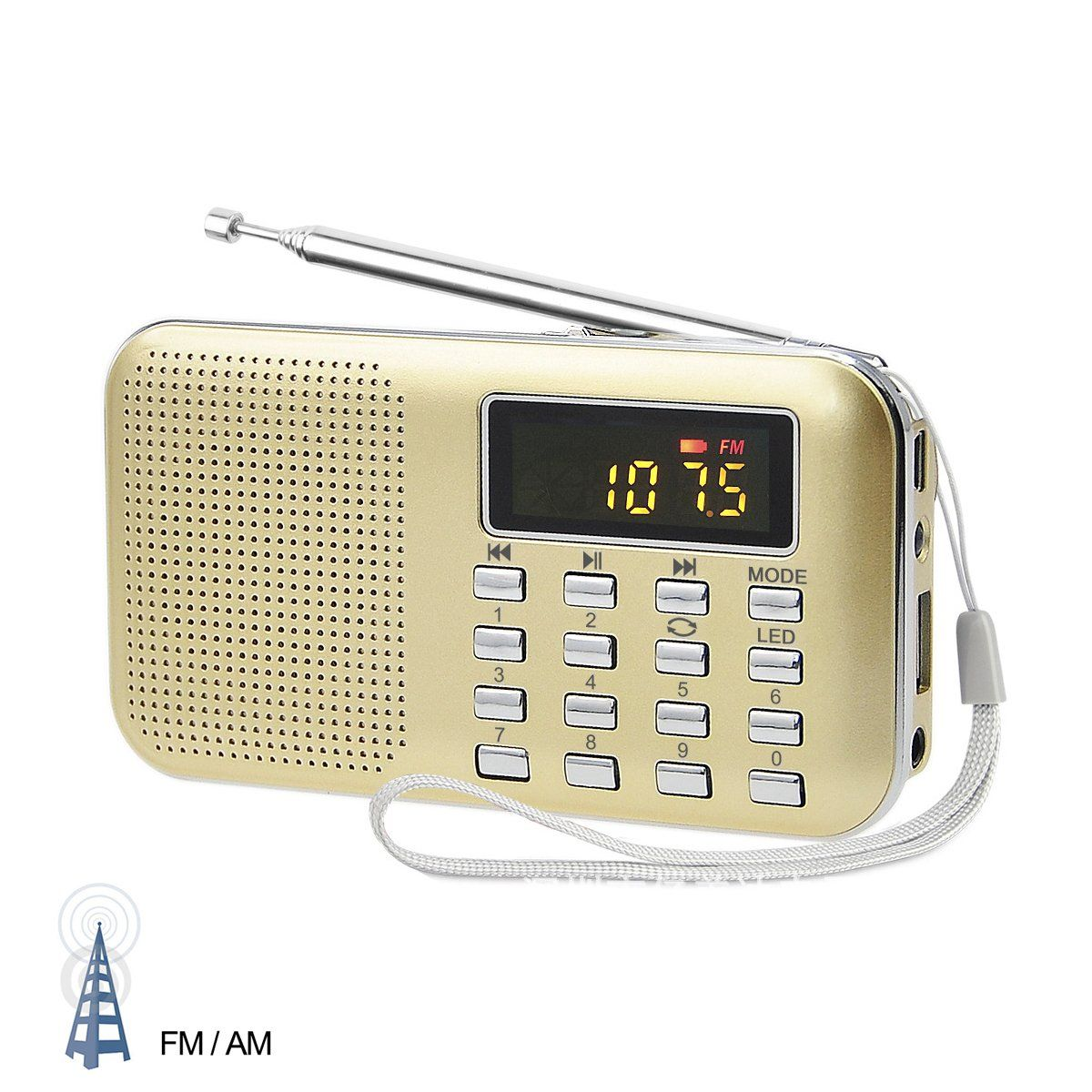 LEFON Mini Digital AM FM Radio Media Speaker MP3 Music Player Support TF Card / USB Disk with LED Screen Display and Emergency Flashlight Function (Gold-Upgraded)