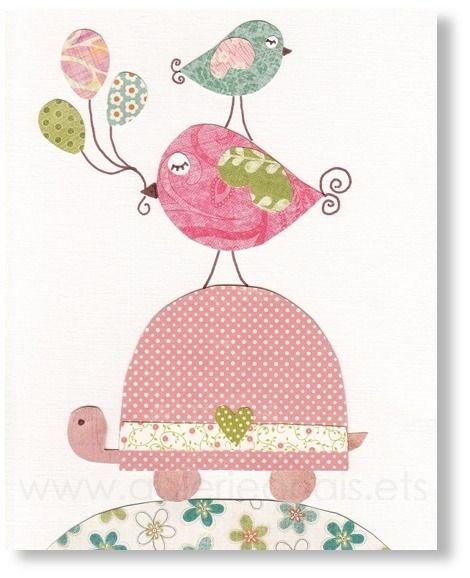 Illustration pour chambre d 39 enfant fille tortue ballon - Illustration chambre bebe ...