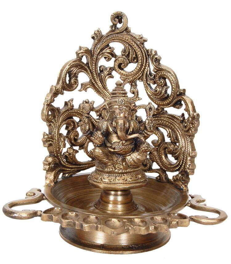 7 Wick Ganesha Lamp 7494 Deepa Lamps Bronze Statues Indian