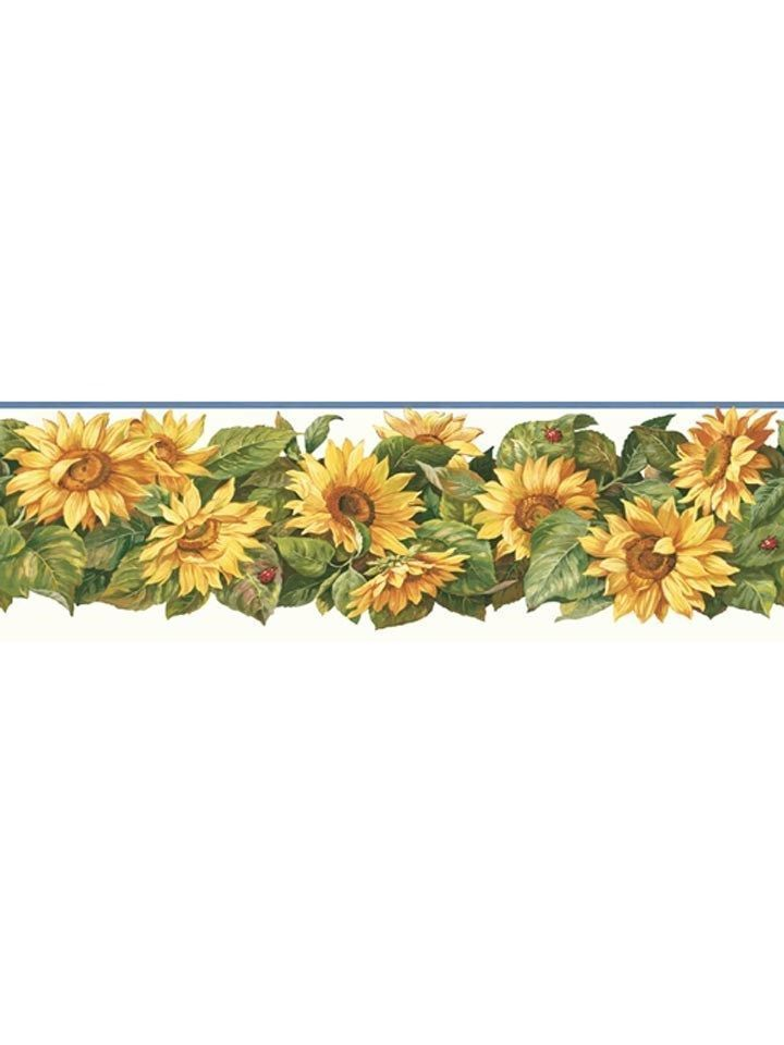 Sunflower with Lady Bugs Wallpaper Border CP033193B
