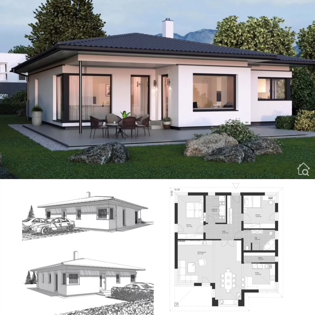 Photo of One Floor House Plans Bungalow Modern European Style, Architecture & Interior Design Ideas
