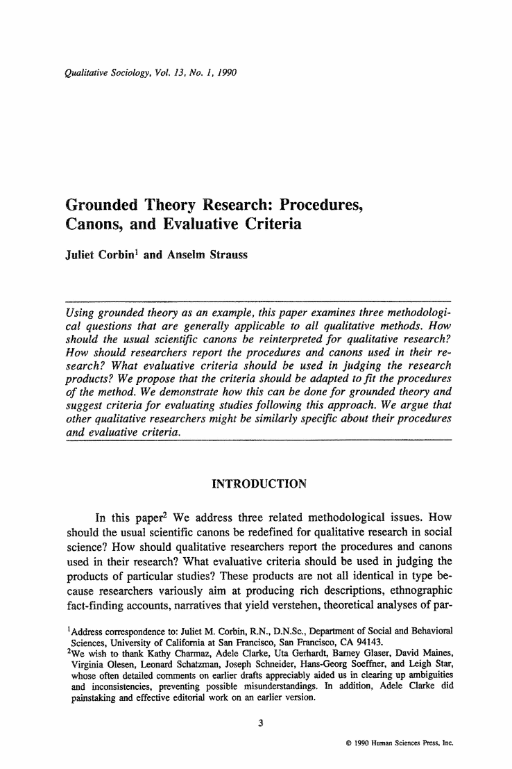 Grounded Theory Research Procedures Canons And Evaluative Criteria