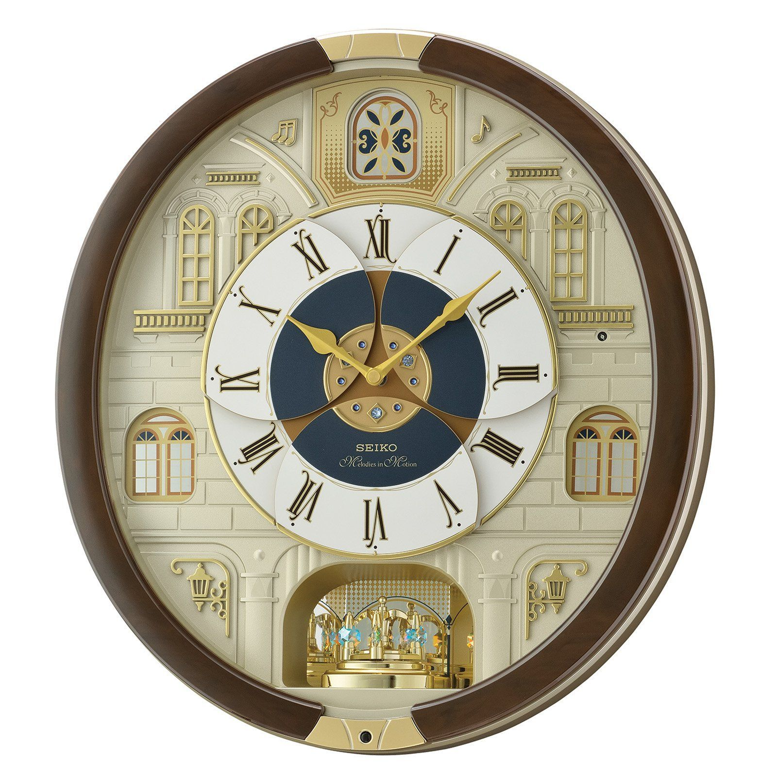 Seiko Round Melody In Motion 17 5h In Wall Clock With 16 Swarovski Crystals Qxm371brh Clock Pendulum Wall Clock Timer Clock