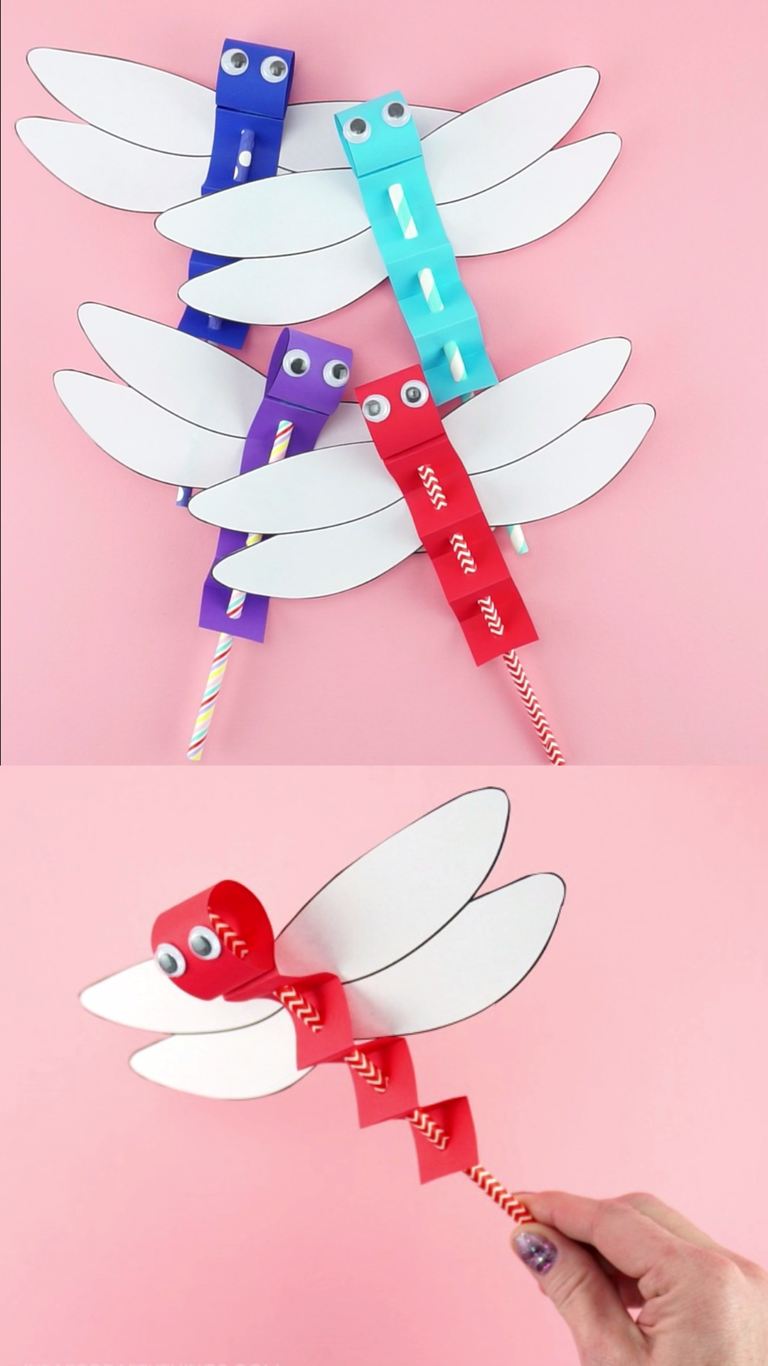 How to Make Paper Dragonfly Craft Puppets